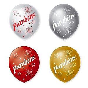 Balão Bexiga Decorada Parabéns Cintilante N 9 pct com 25 unid