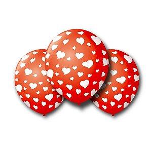 Balão Bexiga Decorada Vermelha coração Branco N9 pct com 25 unid.