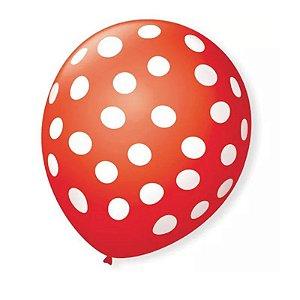Balão Bexiga Decorada Vermelho Bolinha Branca N 9 pct com 25 unid