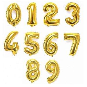 Balão de Número Metalizado Dourado 70 cm