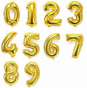 Balão de Número Metalizado Dourado 75 cm