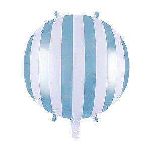 Balão Metalizado Listrado Azul 45 cm