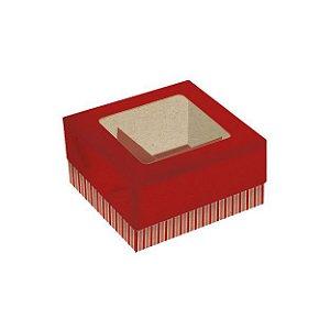 Caixa para Doces de Papel ECO 4 docinhos Vermelha Pct 5 unid