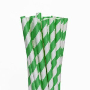 Canudo de Papel Descartável Listrado Verde Claro pct com 20 unid