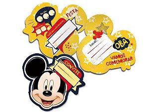Convite de Festa de Aniversário do Mickey - kit com 8 unid