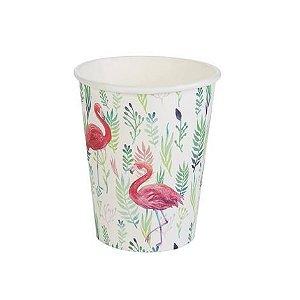 Copo de Papel Descartável 270 ml Flamingo pacote c/ 10 unid