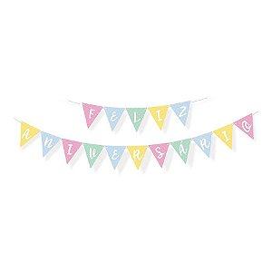 Faixa de Feliz Aniversário para decoração de Festa Pedacinho do Céu