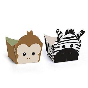 Forminha para doces de Festa Safari Macaco e Zebra com 24 unid