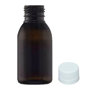 Frasco PET âmbar para Xarope 100 ml com tampa kit com 10 unid