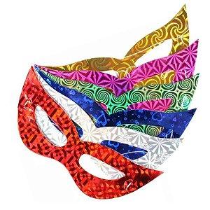 Mascara Gatinho Holográfica para festa pacote com 8 unid