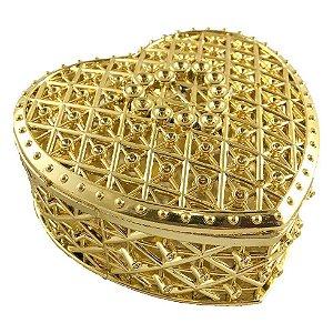 Porta Joia para Lembrancinhas de Coração Dourado kit com 12 unid