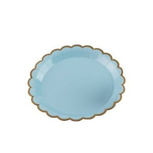 Pratos Descartáveis de papel Decorado Azul e Dourado pct com 10 unid