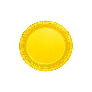 Pratos Descartáveis Resistente 18 cm Amarelo pacote 10 unid