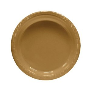 Pratos Descartáveis Resistente 18 cm Dourado pacote com 10 unid