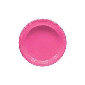 Pratos Descartáveis Resistente 18 cm para Sobremesa Pink pacote com 10 unid