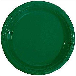 Pratos Descartáveis Resistente 18 cm Verde Escuro pacote com 10 unid