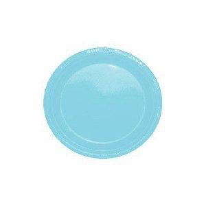 Pratos Descartáveis Simples 15 cm Azul bebê com 10 unid