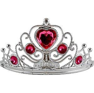 Tiara de Princesa Plástica para Festas Pedra Rosa