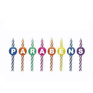 Vela de Aniversário Espiral Parabéns kit com 8 unid
