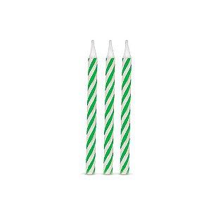 Vela de Aniversário Espiral Verde pct com 16 unid