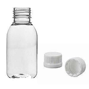 Frasco plástico de 100 ml para refil tampa rosca lacre kit com 10 unid