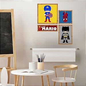 Kit de Placas Decorativas Super Heróis Personalizado
