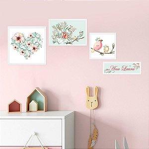 Kit de Placas Decorativas Coração de Flores