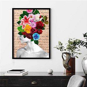 Quadro Mulher com Flores na Cabeça Colorful