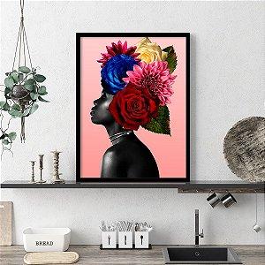Quadro Decorativo Beauty Flores na Cabeça