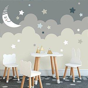 Papel de Parede Personalizado Lua e Estrelas Baby