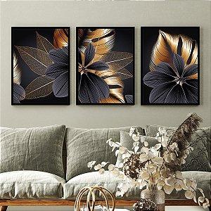 Kit Quadros Flores Dourado