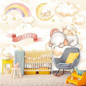 Papel de Parede Personalizado Elefantinho Baby