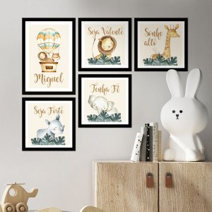 Kit de Placas Decorativas Safari Aquarela
