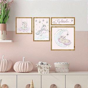 Kit de Placas Decorativas Unicórnios Baby