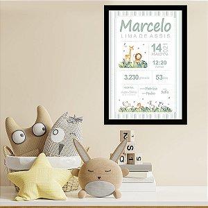 Quadro Nascimento Bebê Personalizado Safari Animais