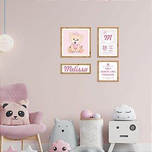 Kit de Placas Decorativas Ursinha Princesa