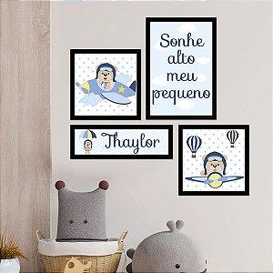 Kit Placas Decorativas Aviador Bebê