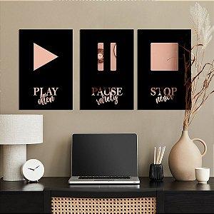 Kit Quadros Decorativos Espelhados Music