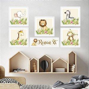 Kit Placas Decorativas Safari Animais