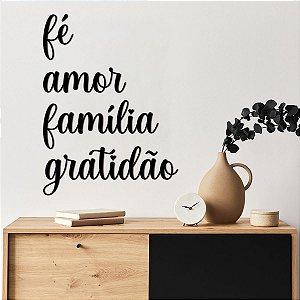 Palavra Decorativa de Parede Fé Gratidão