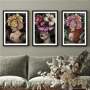 Kit Quadros Decorativos Flores Na Cabeça Tropical