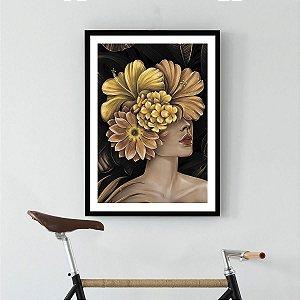 Quadro Decorativo Mulher Flor Dourada