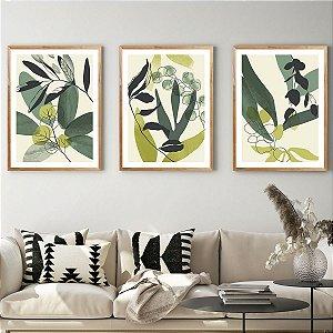 Kit Quadros Decorativos Verde Folhas