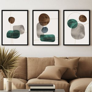 Kit Quadro Decorativo Pedras Abstratas