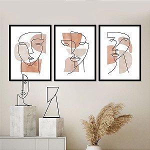 Kit Quadros Decorativos faces Abstratas