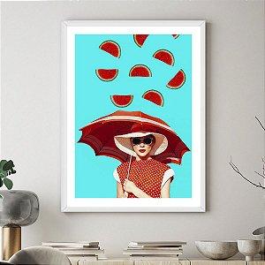 Quadro Decorativo Mulher Melancia Watermelon