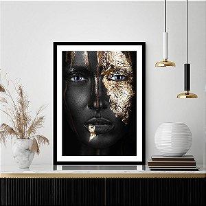 Quadro Decorativo Mulher Dourado Dandara