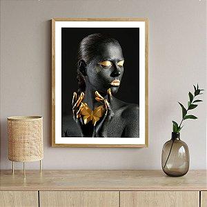 Quadro Decorativo Mulher Dourado Darline