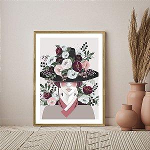 Quadro Decorativo Mulher Flores Oriental