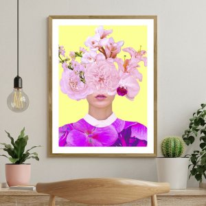 Quadro Decorativo Mulher Rosa